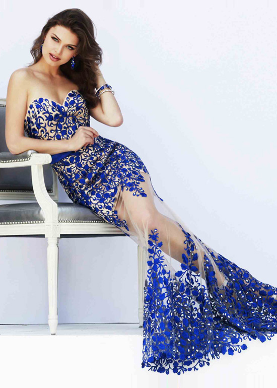 Long Nude Royal Sweetheart Sheer Lace Floral Evening Dress